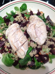 Beet and Avocado Salad with Chicken and Quinoa