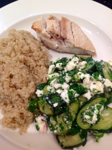 Tri chicken with quinoa and roasted courgette